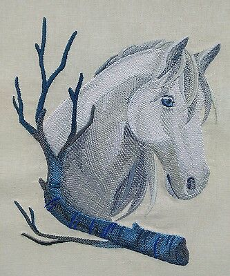 Wintry Horse Embroidered Quilt Panel