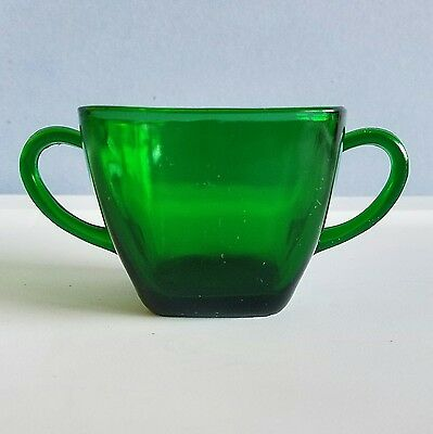 Vintage Emerald Green Anchor Hocking Fire King Square Sugar Bowl