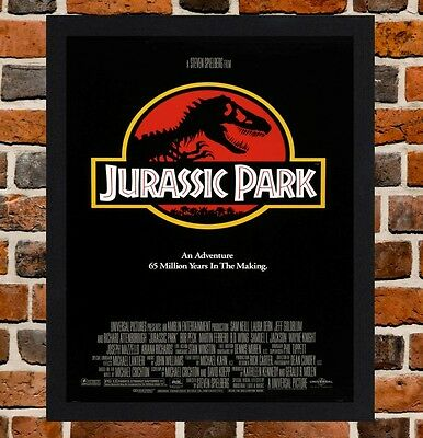 Framed Jurassic Park Movie Poster A4 / A3 Size Mounted In Black / White Frame