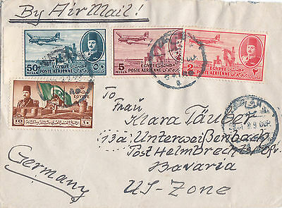 Egypt 1948 Airmail letter w Withdrawal of British troops stamp sent to Germany