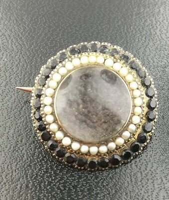 Antique Gold Filled Mourning Brooch w/ seed pearls, onyx, & Hair