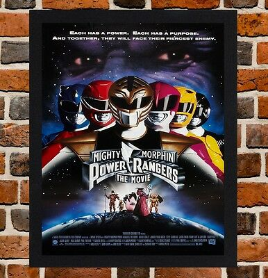 Framed Mighty Morphin Power Rangers The Movie Poster A4 / A3 Size In Black Frame