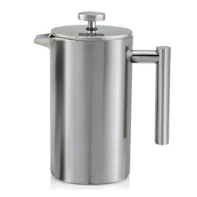 Double Wall Stainless Steel Ground Coffee Filter Maker Plunger 800ML O5Q6 XV
