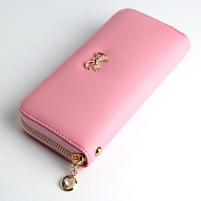 Pink Leather Clutch Wallet New Lady Women Long Card Holder Case Purse Handbag US