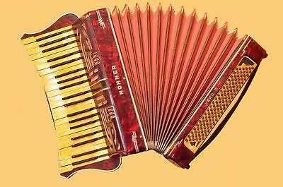 VINTAGE WERY BEAUTIFUL  ACCORDION  HOHNER  WERDI III   120 Bass  Germany