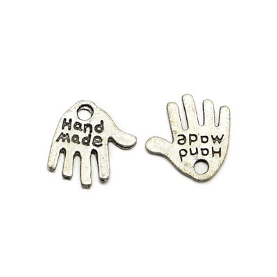 1000PCS Tibetan Style Alloy Hand Carved Word Hand Made Charms Antique Silver