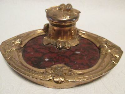 Antique Gilt Bronze & Rouge Marble INKWELL French Signed A.Marionnet Art Nouveau
