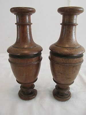 "Pr Antique Walnut 10"" Urn Form Balusters Posts Pillars Architectural Columns  #5"