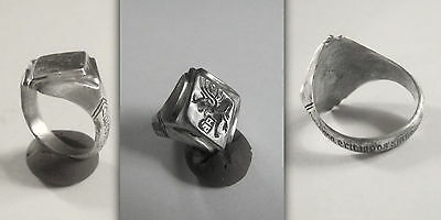 Renaissance/Georgian CHRISTIAN Silver Ring with Saint Lucas, inscribed Hoop