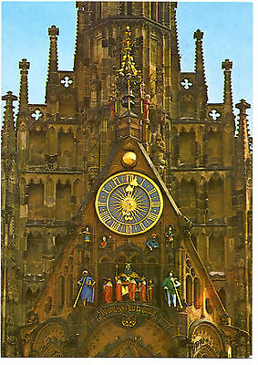 Nuremberg Frauenkirche Clock, German Postcard, Deutsche AK. Clock Stamp