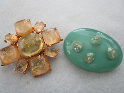 2 Celluloid Thermoset Vintage Brooches Pins Lot