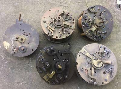 Four High Quality French 8 Day Striking Clock Movements For Spare Parts / Repair