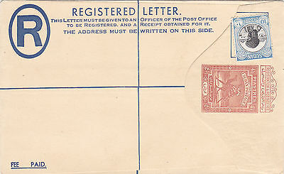 Egypt Sudan 41/2 Piasters Registered Letter Stationery Mint Uprated w 10m Stamp