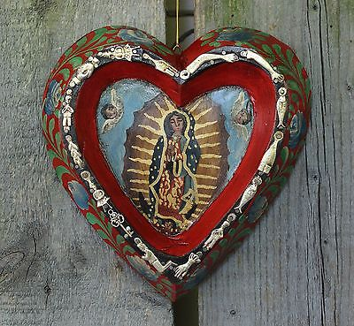 Heart Shape Retablo Virgin of Guadalupe with Milagros Patzcuaro Mexican Folk Art