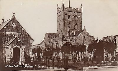 St Johns Church Devizes Real Photographic  Wiltshire Postcard
