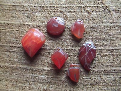 Chinese.   Cornelian.   6, Carved Pendant Drops.  Pierced.      Nice Condition.