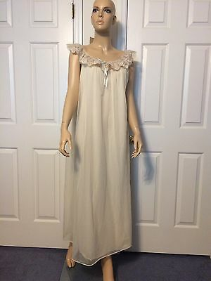 Vintage Shadowline Long Nylon Cream Chiffon Lace Gown Nightgown Large