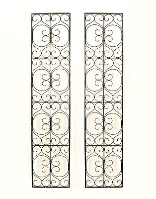 Pair of American Victorian Style Black Wrought Iron Filigree Scroll Design Gates