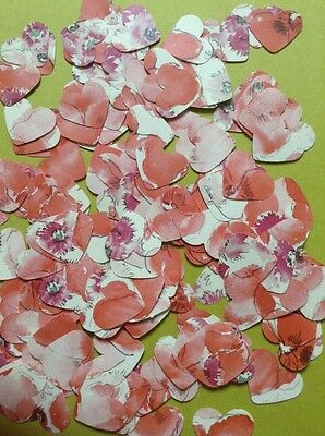 200 x Vintage Romantic Floral Paper Hearts/Wedding/Birthday/Table Confetti