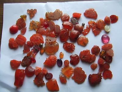 Chinese.   A Large Mixed Lot Of Carved Cornelian.    Nice Condition.