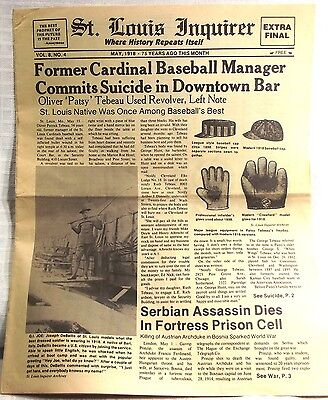 1918 ST LOUIS INQUIRER~Cardinals Baseball Manager Commits Suicide~ Vintage Ads