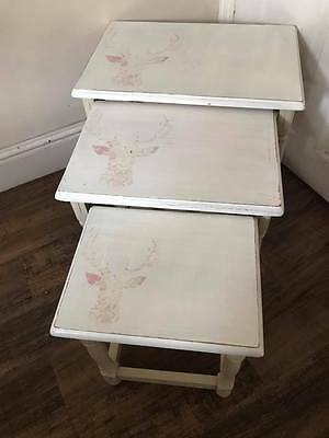 Shabby Chic Vintage floral stags head solid wood nest of tables