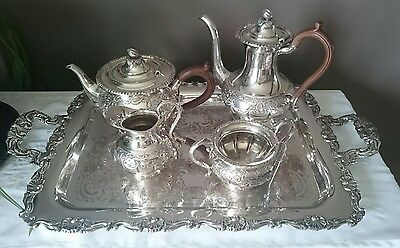 Sheffield Reproduction Silver Plated Hand Chased Floral Tea Service With Tray