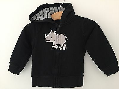 EUC carter's hooded sweatshirt 9M baby black rhino