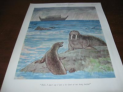 1939 Original CARTOON - WALRUS and SEAL Miss Not Being Invited NOAH's ARK Bible