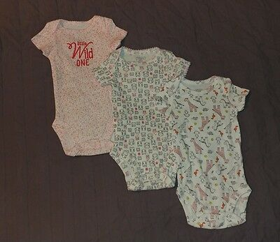 NWOT (3) Carters Baby Girl Clothes NB Newborn One Piece Bodysuits Set