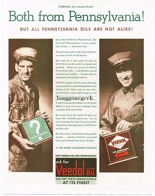 1932 Veedol Motor Oil All Pennsylvania Oils Are Not Alike Vtg Print Ad