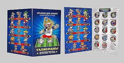 Russia World Cup Mascot history 1966 - 2018 15 coins x 1 Rbl colored