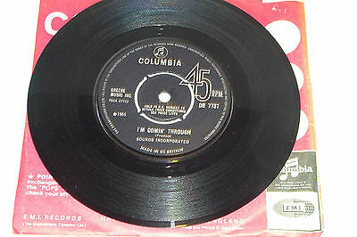 Sounds Incorporated I'm Comin' Through / On The Brink 1965 Columbia Uk 7""