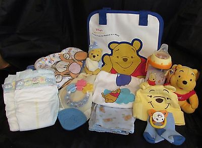 Reborn baby 0/3 Winnie The Pooh Complete Diaper bag doll Milk sippy cup + more