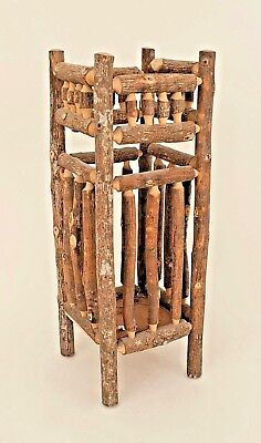 Rustic Adirondack (20th Cent) Umbrella Stand with Twig and Branch Spindle Design