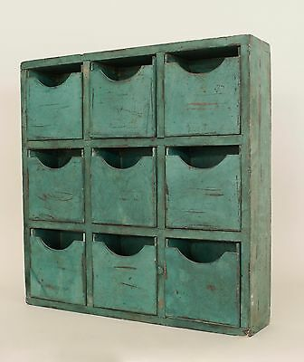 American Country (Victorian) Antique Green Painted Apothecary Style Cabinet