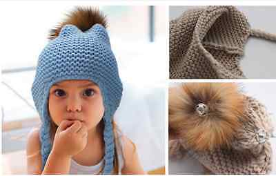 Children Kids Infants Winter Knitted Hat Solid Colour Dark Blue