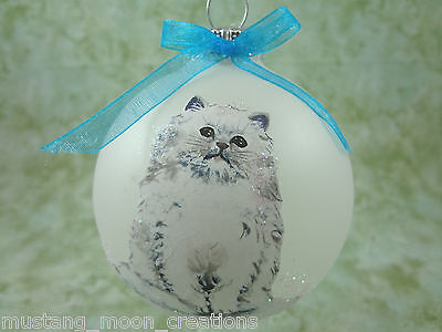 C005 Hand-made Christmas Ornament - Cat Kitten - White persian