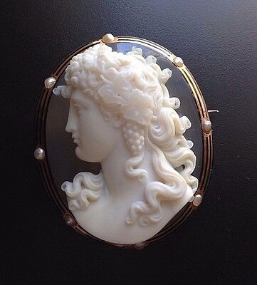 XX-Fine Antique Large Hardstone Agate Cameo Brooch Bacchus or Antinous 18k Gold