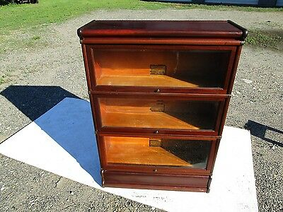 Antique C-1910 Globe Wernicke 3 Sectional Mahogany Barrister Bookcase