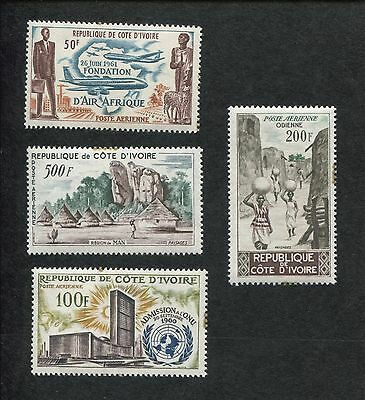 Set of 4   1962 Ivory Coast Air Mail Postage Stamps #C18-C21