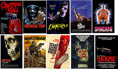 80's Horror film posters Evil Dead Chopping Mall Day of Dead Shocker House