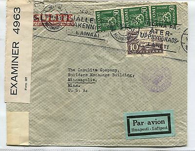 Finland To Usa 1944 Air Mail Cover Airmail Ww Ii Censor # 5450