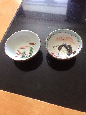 TWo VINTAGE JAPANESE SMALL SAKI CUPS HAND PAINTED  SIGNED TO One Base