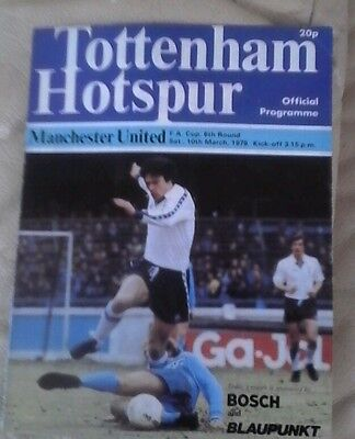 Manchester united v Tottenham away1978/79  very good condition fa cup 6th round
