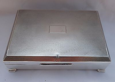 Vintage 1965 Solid Sterling Silver Raised Footed Cigarette Box Cigar Trinket