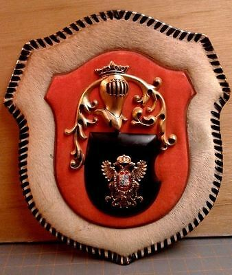 Medieval Style SHIELD COAT Of ARMS and KNIGHT HELMET Calf Fur Wall Hanging