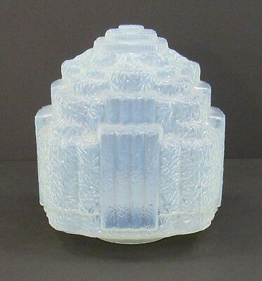 Large Antique Art Deco Ice Blue Opalescent Glass Skyscraper Ceiling Lamp Shade