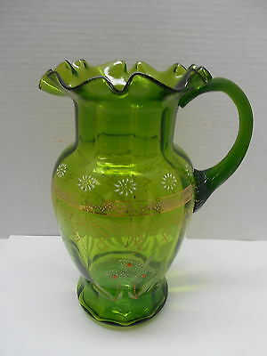 Antique Green Ruffled  Pitcher, Enameled Floral Design, Gold Band, Mold Blown.