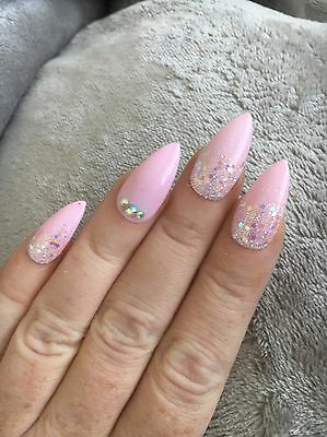 Hand Painted false nails STILETTO full Cover Pink Glitter Fade Stick On Uk